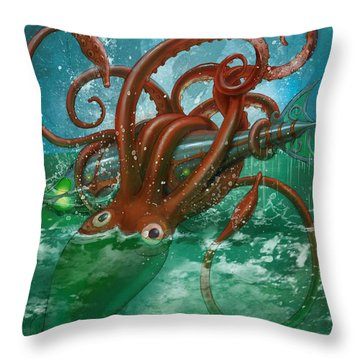 Giant Squid And Nautilus Throw Pillow