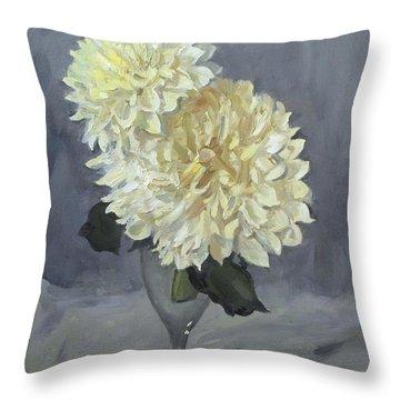 Giant White Dahlias In Wine Glass Throw Pillow