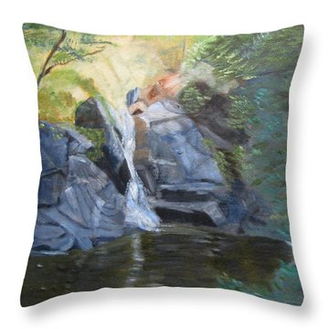Throw Pillow featuring the painting Gibbs Falls by Linda Feinberg
