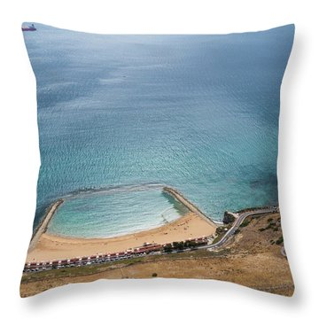Gibraltar Rock View To The Beach Throw Pillow