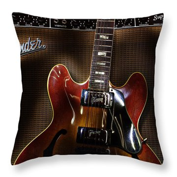 Gibson 335 Throw Pillow by Jim Mathis