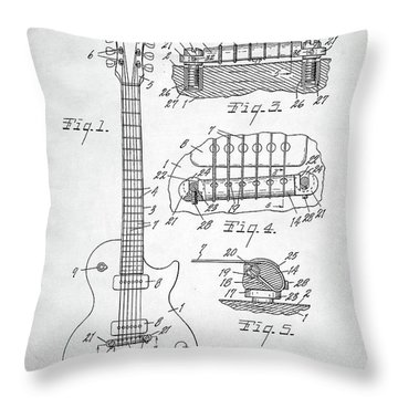 Throw Pillow featuring the digital art Gibson Les Paul Electric Guitar Patent by Taylan Apukovska