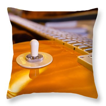 Yellow Quilt Guitar Top Throw Pillow