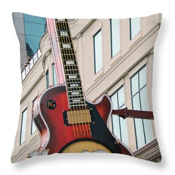 Gibson Les Paul Of The Hard Rock Cafe Throw Pillow by DigiArt Diaries by Vicky B Fuller