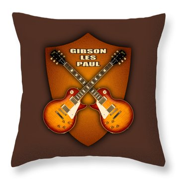 Gibson Les Paul Standart  Shield Throw Pillow by Doron Mafdoos