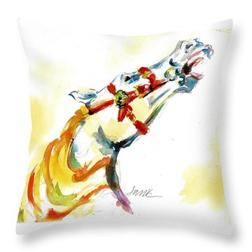 Giddy-up Carousel Horse Head Study Throw Pillow