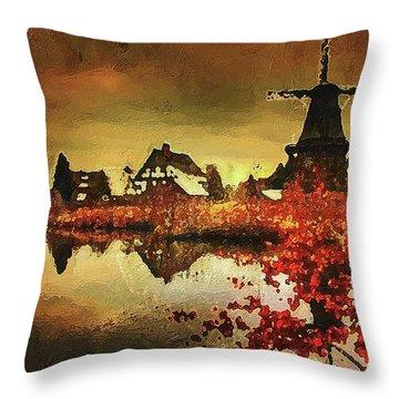 Throw Pillow featuring the digital art Gifhorn Millhouse by PixBreak Art