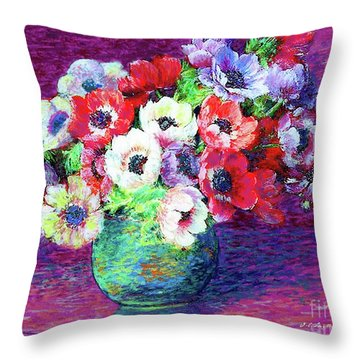 Gift Of Anemones Throw Pillow by Jane Small
