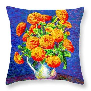 Gift Of Gold, Orange Flowers Throw Pillow