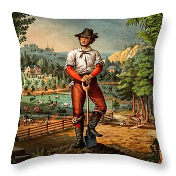 Gift For The Grangers 1873 Victoiran National Grange Agriculture Promotional Art Throw Pillow