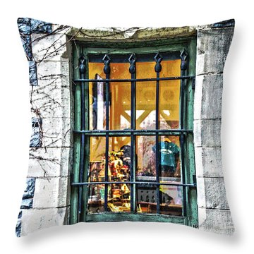 Gift Shop Window Throw Pillow by Sandy Moulder