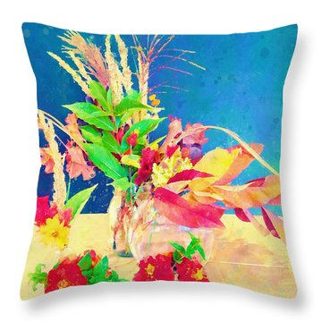 Gifts From The Yard Watercolor Throw Pillow