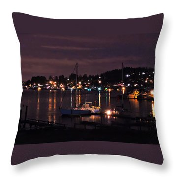 Gig Harbor At Night Throw Pillow by Jack Moskovita