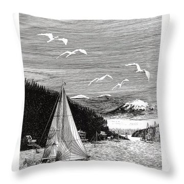 Gig Harbor Sailing School Throw Pillow by Jack Pumphrey