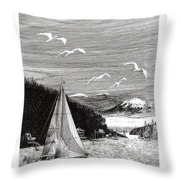 Gig Harbor Sailing School Throw Pillow by Jack Pumphrey