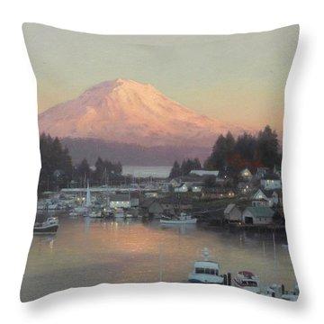 Gig Harbor Sunset Throw Pillow