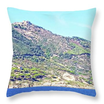 Throw Pillow featuring the digital art Giglio Castello - Isola Del Giglio by Joseph Hendrix