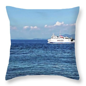 Throw Pillow featuring the digital art Giglio Island Ferry - Porto Santo Stefano, Italy by Joseph Hendrix