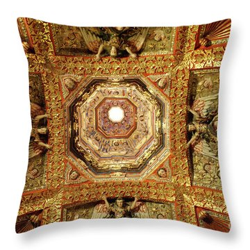 Throw Pillow featuring the photograph Gilded Ceiling Tepotzotlan Mexico by John  Mitchell