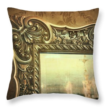 Gilded Mirror Reflection Of Chandelier Throw Pillow by Sandra Cunningham