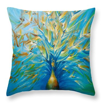 Gilded Peacock Throw Pillow