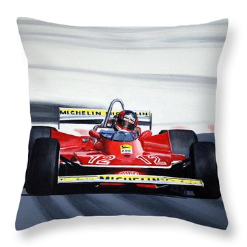 Gilles Villeneuve French Gp 1979 Throw Pillow