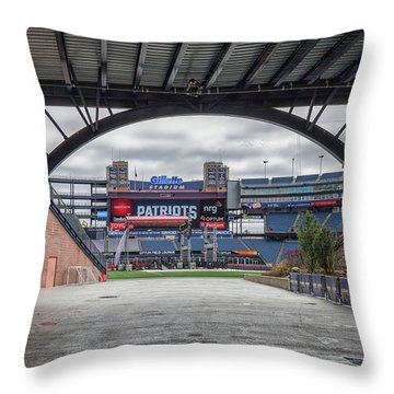 Gillette Stadium And The Four Super Bowl Banners Throw Pillow
