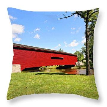 Gilpin's Falls Covered Bridge Throw Pillow