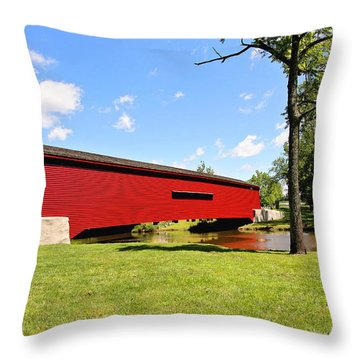 Gilpin's Falls Covered Bridge Throw Pillow