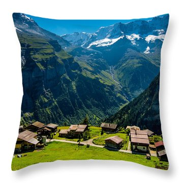 Gimmelwald In Swiss Alps - Switzerland Throw Pillow