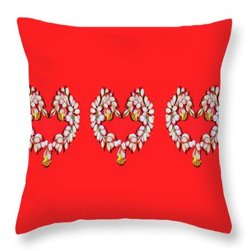 Throw Pillow featuring the painting Ginger Flower Hearts by Debbie Chamberlin