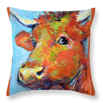 Throw Pillow featuring the painting Ginger Horn by Mary Schiros