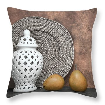 Ginger Jar With Pears I Throw Pillow by Tom Mc Nemar