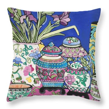 Throw Pillow featuring the painting Ginger Jars by Rosemary Aubut