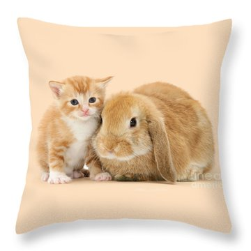 Ginger Kitten And Sandy Bunny Throw Pillow