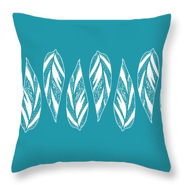 Ginger Leaf Lineup - Teal Throw Pillow