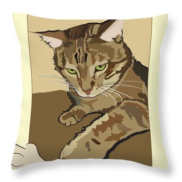 Ginger Peach Bengal Kitty Throw Pillow