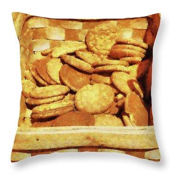 Ginger Snap Cookies In Basket Throw Pillow by Susan Savad