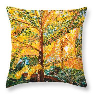 Gingko Tree Throw Pillow by Valerie Ornstein