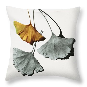 Ginkgo Leaves Throw Pillow by Garry McMichael