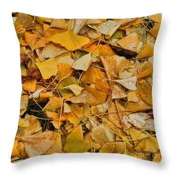 Throw Pillow featuring the photograph Ginko Leaves Cover Your Bed by Michael Flood