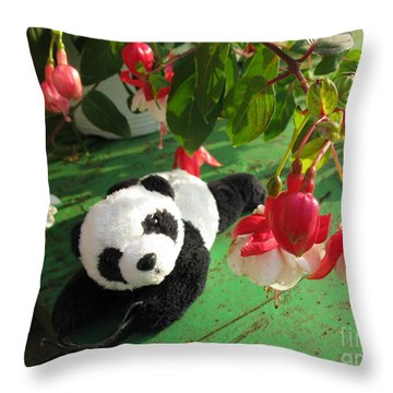 Throw Pillow featuring the photograph Ginny Under The Red And White Fuchsia by Ausra Huntington nee Paulauskaite