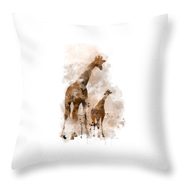 Giraffe And Baby Throw Pillow