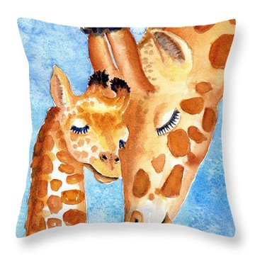 Giraffe Baby And Mother Throw Pillow