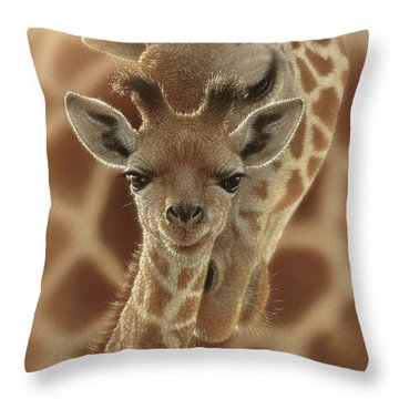 Giraffe Baby - New Born Throw Pillow