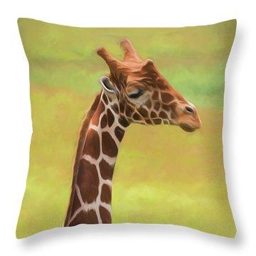Giraffe - Backward Glance Throw Pillow
