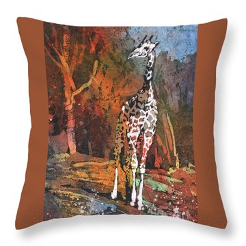 Throw Pillow featuring the painting Giraffe Batik II by Ryan Fox