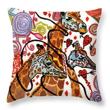 Giraffe Birthday Party Throw Pillow by Connie Valasco