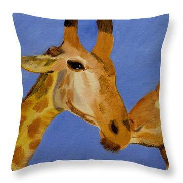 Giraffe Bonding Throw Pillow by Meryl Goudey