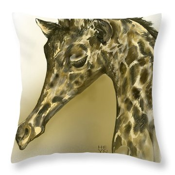 Giraffe Contemplation Throw Pillow by Shirley Heyn